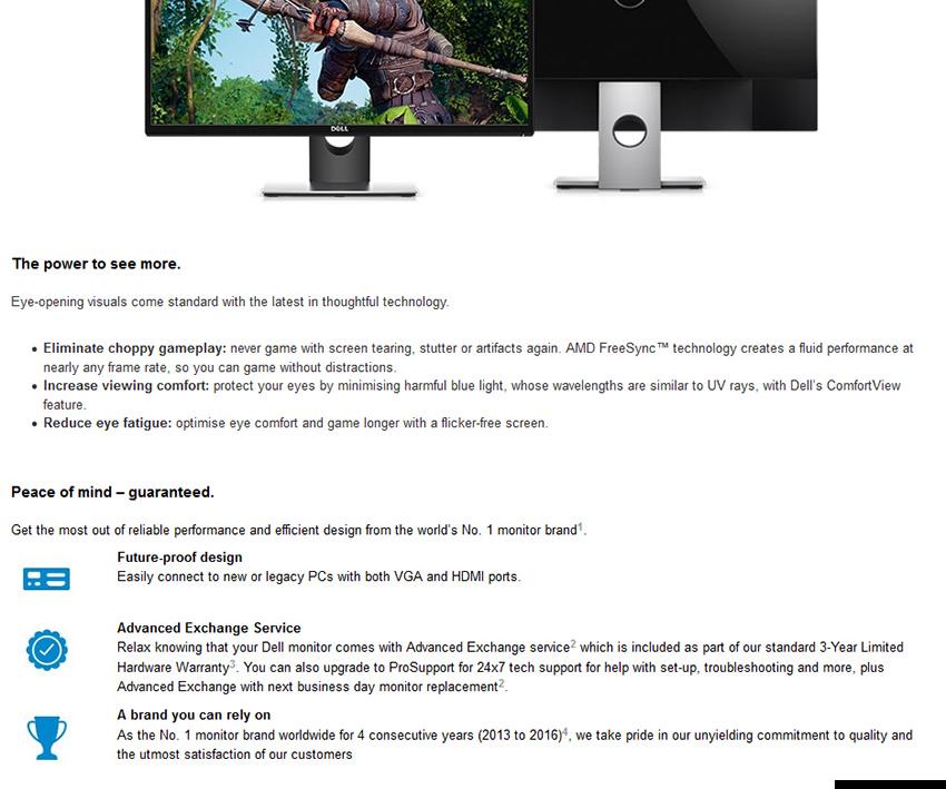Dell SE2717H 27INCH Full HD (1920 x 1080) LED widescreen Monitor AMD  FREESYNC Technology (HDMI & VGA Port)