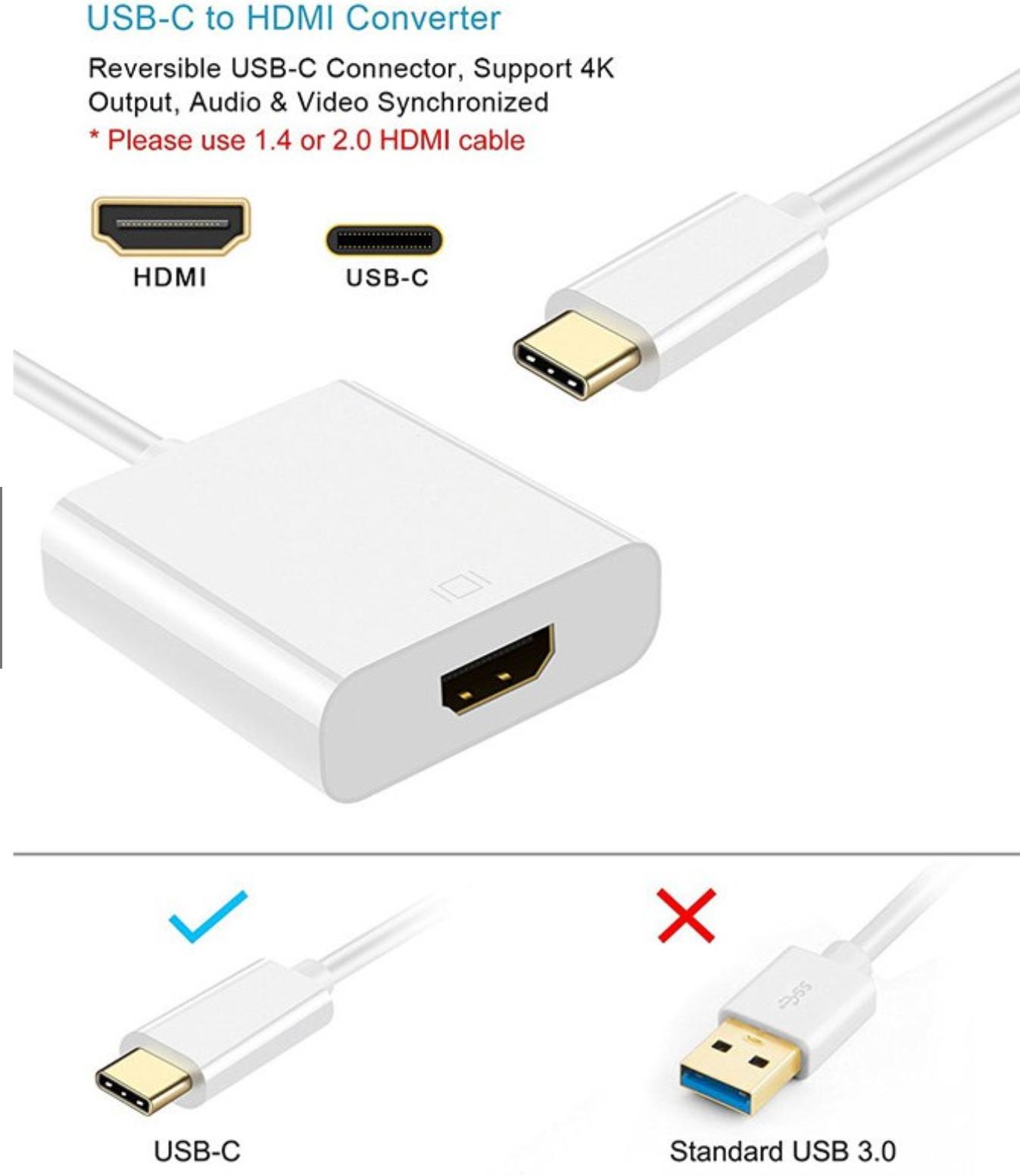 Type-C to 4K HD HDMI VGA Port Aluminum Audio Adapter Converter for Apple Mac