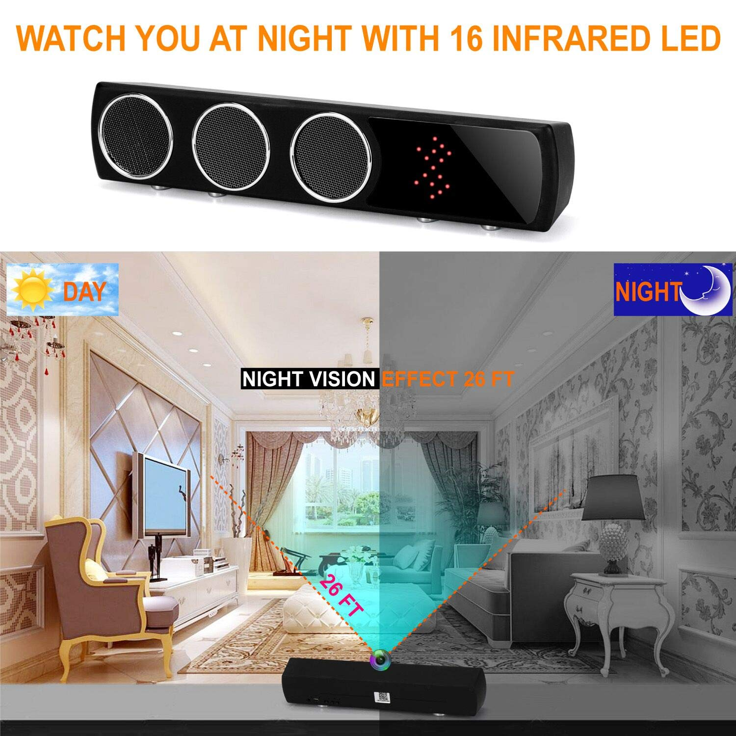 WiFi Bluetooth Spy Speaker HD 1080P, Wireless Hidden Camera Wide Angle 160  Degree Night Version Nanny Cam 24 Hours Real-time Monitoring