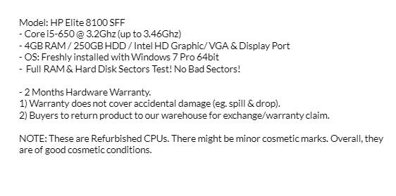 Core i5 Gen1: HP Elite 8100/ 4GB RAM/ 250GB HDD (Refurbished Desktop CPU)