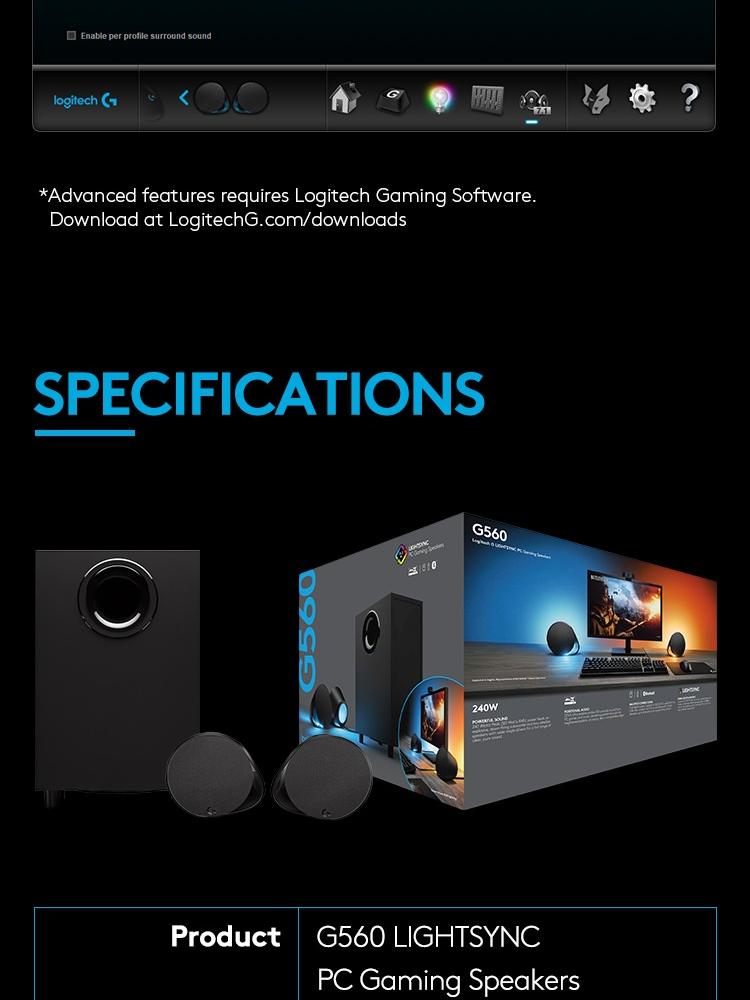 LOGITECH G560 LIGHTSYNC PC GAMING SPEAKER WITH BLUETOOTH WIRELESS *COMEX  PROMO*